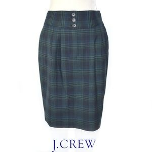 J. CREW #2 Pencil Skirt Blackwatch Plaid